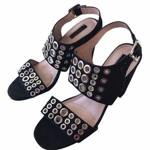 Topshop Black Velvet Studded Heels 9